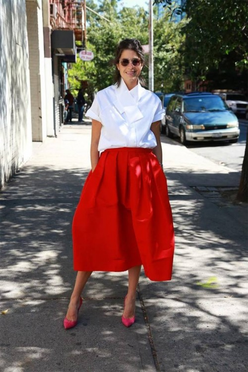 Leandra-Medine-The-Man-Repeller-Blogger-wearing-Tibis-Silk-Faille-Skirt-and-oxford-shirt-while-in-NYC